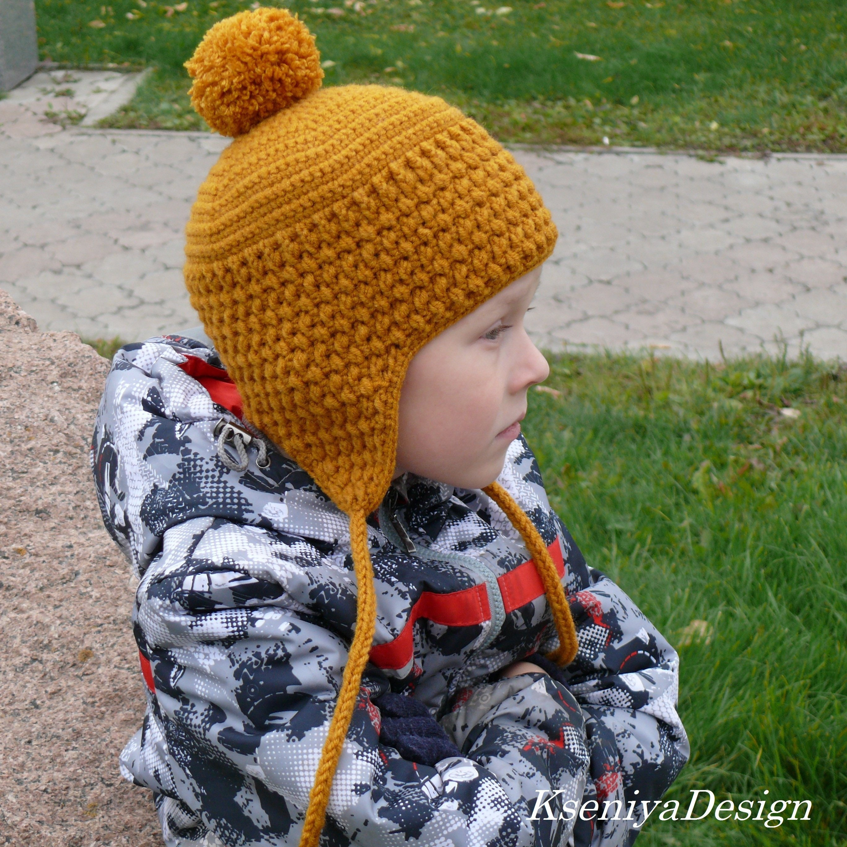 Crochet Hat Pattern Beanie Ear Flap Hat Burnt Orange Hat Etsy