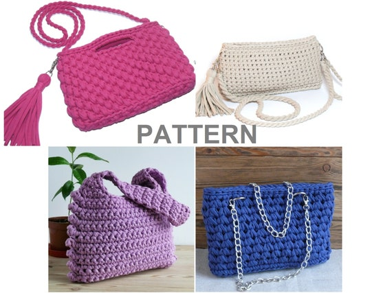 Set Of Crochet Bag Patterns Handbag Crochet Tote Etsy