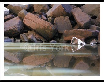 Reflections of Rocks at Upper Emerald Pool in Zion National Park, Landscape Photo, Nature Print, Wall Art