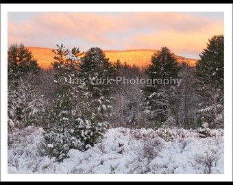 Sun Reflecting On Mountains, Winter Snow Photography, Orange Dawn, Country Snow Photo, Landscape Print, Nature, Wall Art, Trees