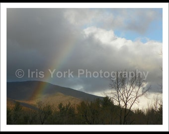 Rainbow Over Mountain Photography, Clouds in Winter, Overlook Mountain, Woodstock, Landscape Photography, Wall Art, Nature