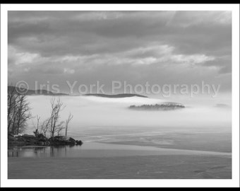 Winter Ice, Clouds over Water,Ashokan Reservoir, Trees, Black and White Photograph, Landscape Print, Wall Art, Nature, Woodstock, Snow