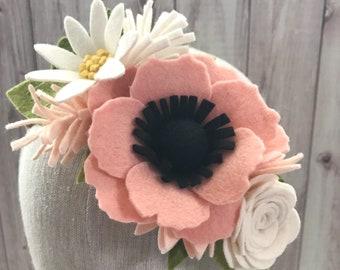 Felt Flower Crown  Mini Floral Crown  Baby Headband  Newborn Toddler Girls Headpiece  Birthday Cake Smash  Pastels  You Choose Color