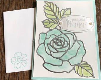 Watercolor wedding card, wedding card, watercolor card, watercolor greeting card, flower wedding card, handmade greeting card, wedding gift