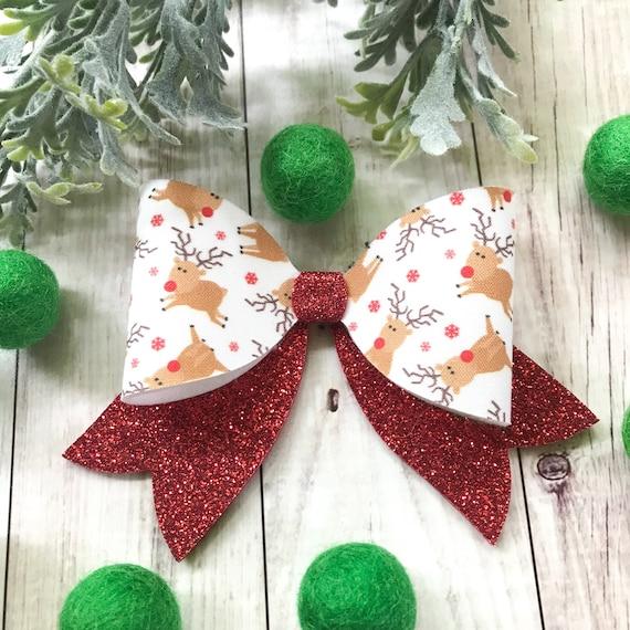 Rudolph Reindeer Toddler Hair Bow Set