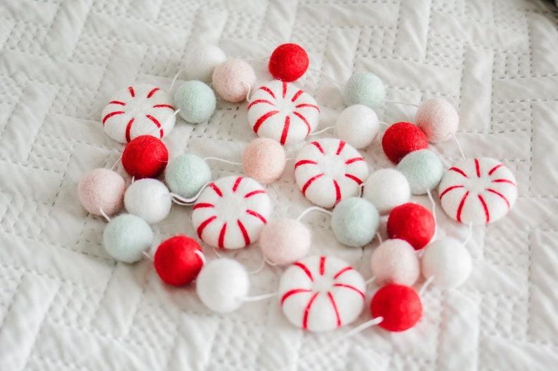 Christmas Garland Christmas Garland Felt Christmas Decor Peppermint Decor Peppermint Garland Winter Decor Candy Garland Felt Balls