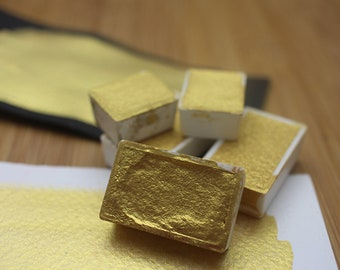 Pearlescent Gold Nugget Handmade Watercolor