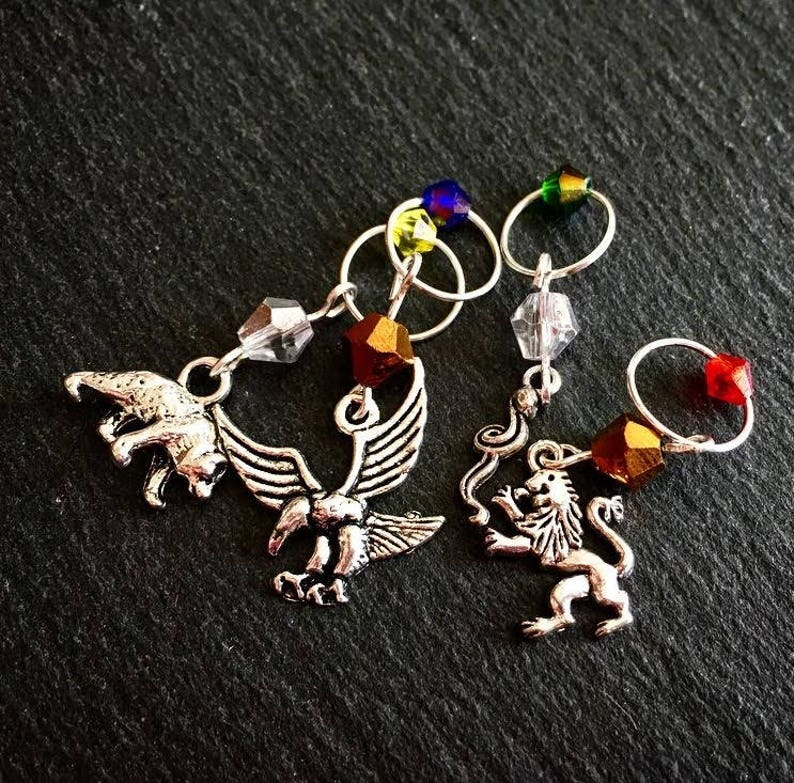 SET Inspired Harry Potter House Hex Collection Stitch Markers or Progress  Keepers~*House Trinket Collection*~ HP Notion SET