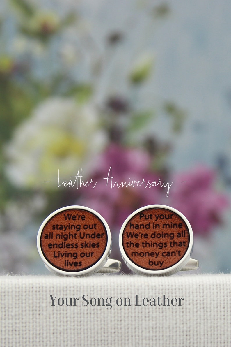 3rd Anniversary Gift for Men 3 Year Leather Anniversary for Him Custom Leather Gift with Lyrics or Vows Personalised Leather Cufflinks