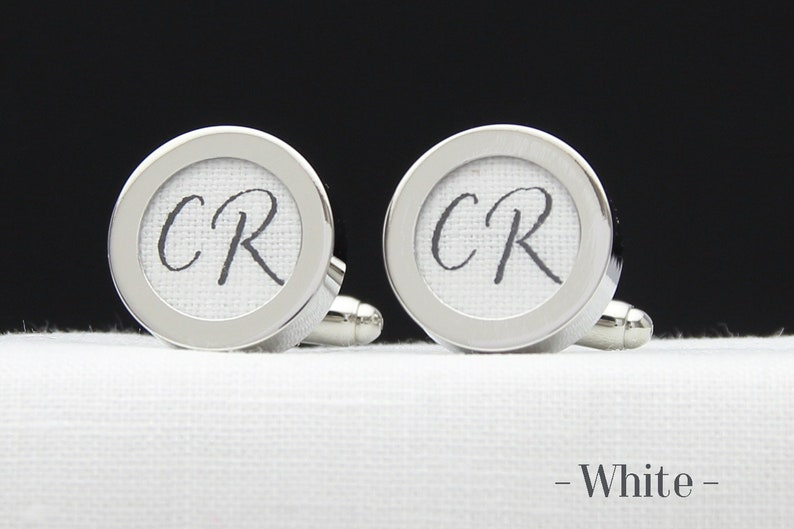 4th Anniversary Cuff Links personalized with His Initials Custom 4 Year Wedding Anniversary Gift Linen Anniversary Gift for your Husband