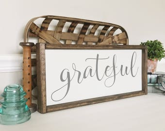Grateful Sign, Be Grateful, Grateful, Fall Decor, Thanksgiving Decor, Farmhouse Style, Blessings, Calligraphy Sign, Autumn Wall Decor