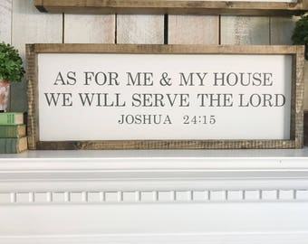 As For Me and My House We Will Serve the Lord, Joshua 24:15, Bible Verse Sign, Serve the Lord Sign, Religious Wall Decor, Scripture Sign