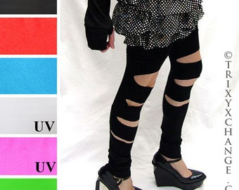 cbf1e89c2ab6e TRIXY XCHANGE - Cut Out Leggings Black Leg Warmers Red Slashed Legwarmers  Cyber Goth Clothing Cyber Punk Clothes Spandex Thigh Highs Otk