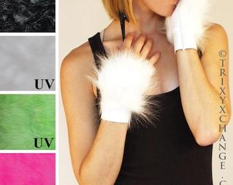 TRIXY XCHANGE - White Fur Cuffs White Dress Gloves Fancy Dress Party Gala Costume White Gloves Glow In The Dark Animal Cosplay Furry Cat