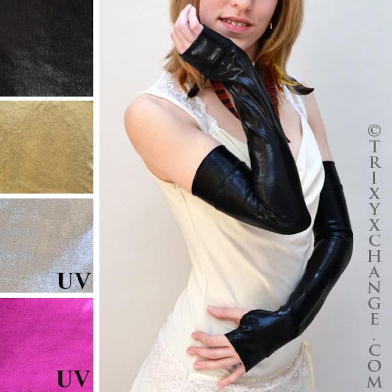 Womens Wet Look Shiny Metallic Sleeves Arm Warmers Fancy Dress Fingerless Gloves