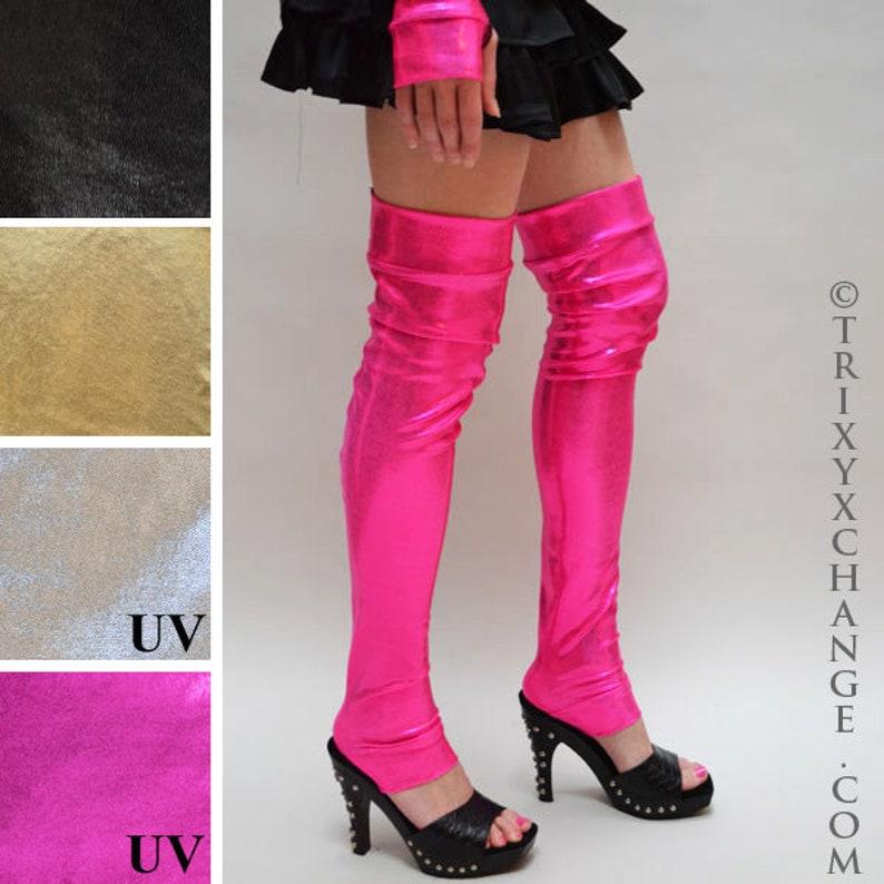 Hot Pink Leg Warmers Neon Leggings Gold Spandex Pants Silver Legwarmers Black Knee Socks Gogo Dancer Clothing Anime Costume TRIXY XCHANGE