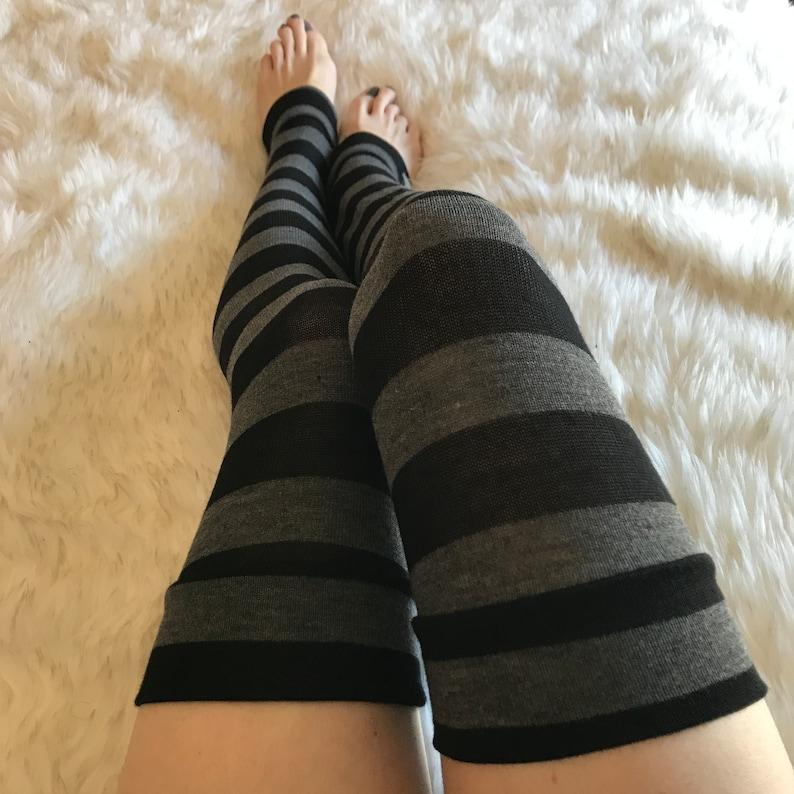 49799b9342fcb TRIXY XCHANGE Striped Thigh High Socks Black Knee Socks Gray   Etsy