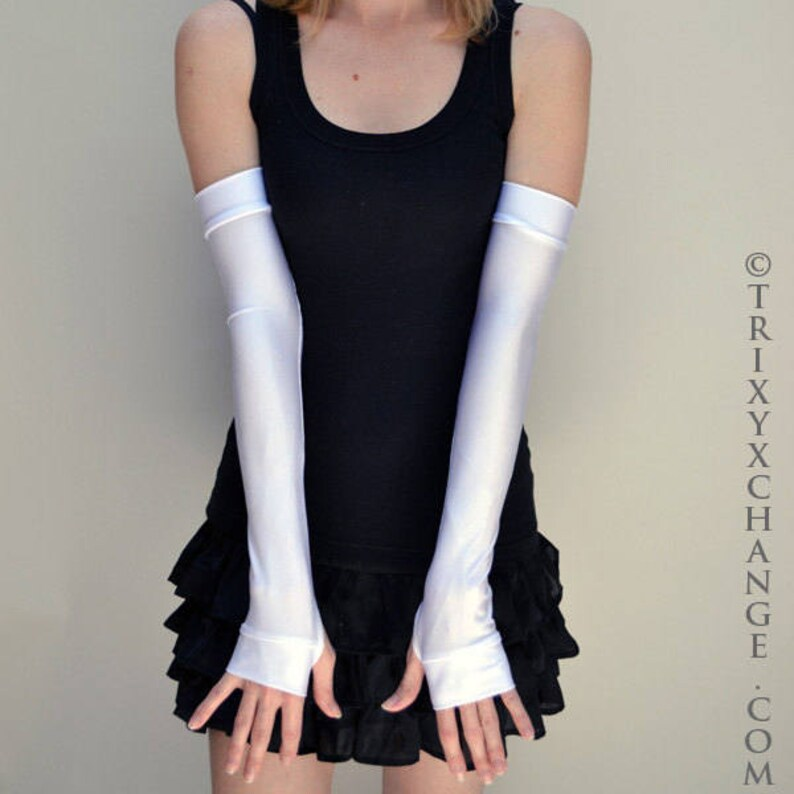 TRIXY XCHANGE White Spandex Gloves Red Stretchy Gloves Blue Latex Arm Covers White Arm Warmers Womens Costume Pink Arm Sleeves Green Gloves
