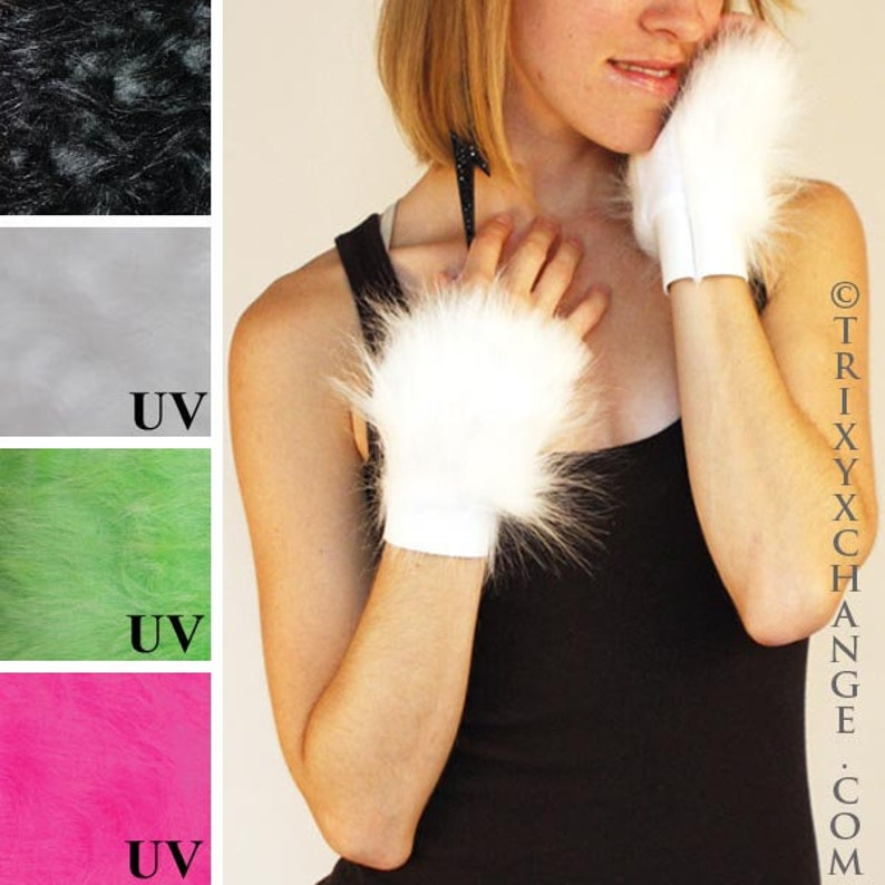 TRIXY XCHANGE Pink Fur Gloves White Fur Arm Cuffs Green Arm Covers Black Fluffies Fur Wristbands Mens Cat Costume Womens Cat Gloves Neon