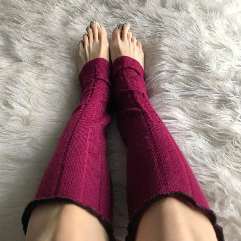 Sweater Leg Warmers Red Knit Legwarmers Cable Knit Socks Burgundy Knee Socks Sweater Leggings Thick Winter Socks Warm Pants TRIXY XCHANGE
