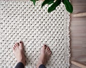Macrame Carpet, Macrame Rug, Boho Rug, Boho Carpet, Macrame Foot Rug, Woven Rug, Square Rug, Cotton Rug, Bohemian Home Decor, Bedroom Rug