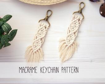 Macrame Keychain Pattern, Key Chain Pattern, Macrame PDF, Macrame Tutorial, DIY Macrame, Macrame Keychain Tutorial, Boho Keychain Pattern