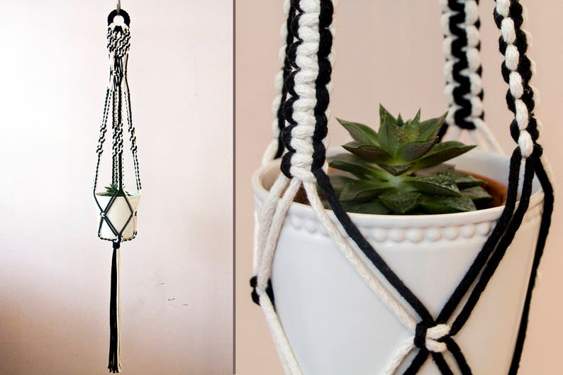 Two Colors Macrame Plant Hanger Black Hanging Planter Macrame Plant Holder Pot Hanger Plant Holder Cotton Planter Macrame Pot Hanger