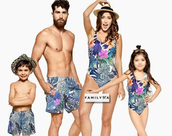 36ba870757a Family Matching Swimsuits, Family Matching Outfit, Floral Swimsuit,  Matching Bathing Suit, Hawaii Wear, Matching Family Swimwear, Resort
