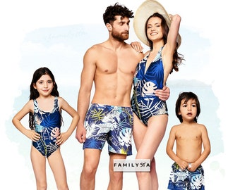 824854e99bc75 Family Matching Swimsuits, Tropical Matching Swimwear, Family Bathing Suit, Boy  Swim Shorts, Mother And Father Matching, Blue Swimsuit
