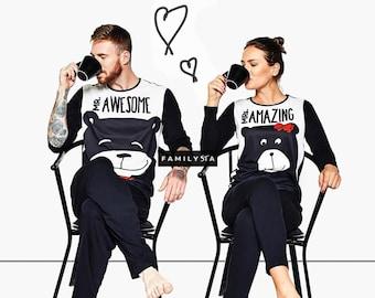 Couple Pajamas, His And Hers Pajamas, Matching Pajamas, Matching Couple Outfit, Matching Pajamas, Holiday Pajamas, Hubby And Wife Pajamas