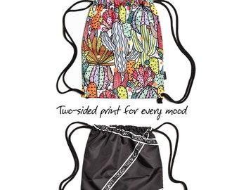 Beach Bag, Drawstring Bag, Cactus Bag, Sports Bag, Cartoon Bag, Summer Bag, Holiday Bag, Drawstring Backpack, Colorful Bag, Kids Bag