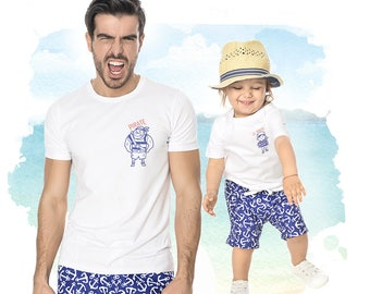 Matching Tees, Pirate Tee, White Mens Top, Summer Tee, Matching Father And Son, Fathers Day Gift, Casual White Top,Matching Daddy And Me Top