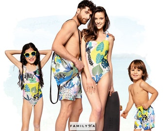 ae5694a6c6d06 Family Matching Swimsuits, Family Beach Outfit, Dad Gift, Tropical Matching  Swimwear, Vacation Wear, Couple Swimsuit, Matching Swimwear