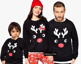 Black Sweatshirts, Deer Horns, Family Sweatshirts, Funny Matching Outfit, Ugly Christmas Sweaters, Matching Christmas Outfit, Pullovers