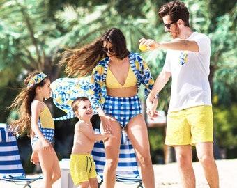 a37f0e1443b Family Matching Swimsuits, Honeymoon Wear, Family Bathing Suits, Lemon,  Vacation Wear, Couple Swimsuit, Family Swimsuits, Matching Swimwear