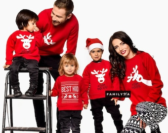 Matching Christmas Sweaters, Matching Outfit, Red Sweatshirts, Matching Family Sweatshirts, Matching Family Christmas Outfit, Christmas