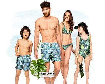 129ff25b88 Family Matching Swimsuits, Tropical Swimsuits, Father's Day Gift, Couple Matching  Swimwear, Matching Family Bathing Suits, Dad Gift