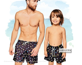 fc0042735a Daddy And Me Matching Shorts, Father And Son Matching Swimwear, Black  Swimwear, Dad Gift, Polka Dot Outfit, Matching Shorts, Beach Wear