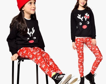 Red Leggings, Matching Pants, Mommy And Girl Leggings, Matching Leggings, Matching Mother Daughter Pants, Mommy And Me Matching Clothing