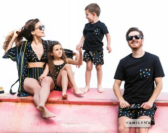 5b55e07f04c Family Matching Swimsuits, Couple Matching Swimwear, Matching Family  Bathing Suits, Vacation Wear, Family Matching Swimwear, Dotted Swimsuit