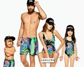 1663ffb6f15 Tropical Swimsuit, Family Matching Swimsuit, Family Swimwear, One Piece  Swimsuit, Matching Shorts, Mom And Dad Swimwear, Kids Swimsuit