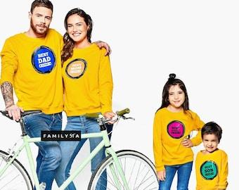 Matching Family Sweatshirts, Matching Family Sweaters, Matching Family Outfit, Matching Yellow Sweatshirts, Mustard Sweaters, Family Jumpers
