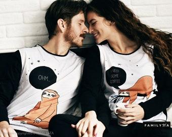Couples Pajamas, Couple Outfit, Sloth Pajamas, Couple Jammies, Matching Couple Pajamas, Adult Pajamas, Couple Christmas Pajamas, Holiday