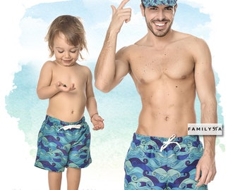 f1e0e171e7 Father And Son Swimwear, Kids Swim Trunks, Matching Bathing Suit, Dad Gift,  Matching Daddy And Me Trunks, Gift For Dad, Matching Swimsuit