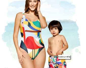 6ba9526204 Mommy And Me Matching Swimsuit, Mother Son Matching Swimwear, Mom And Boy  Matching, Mom Gift, Boy Swimsuit, Gift For Mom, Women Swimsuit