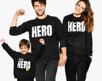 Matching Hero Clothing, Family Matching Set, Black Sweaters, Family Sweaters, Set of 3, Family Matching Outfit, Matching Family Set