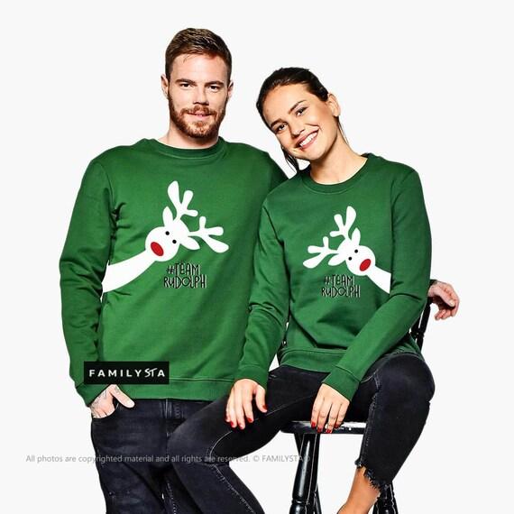 Vert Et SweatshirtTenue Noël TenuePulls D'entraînementMaman D'hiverAssortis Couple Assorti Papa 4Rc35AjqSL