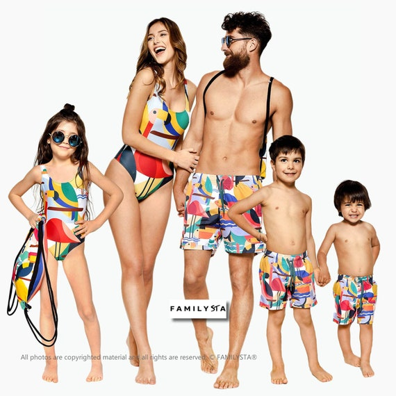 45b2ec725fe7a Family Matching Swimsuits Flamingo Swimsuits Family Matching