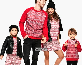 Family Christmas Red Sweaters, Xmas Sweatshirts, Family Christmas Outfit, Family Set Christmas, Matching Holiday Sweaters, Ugly Christmas