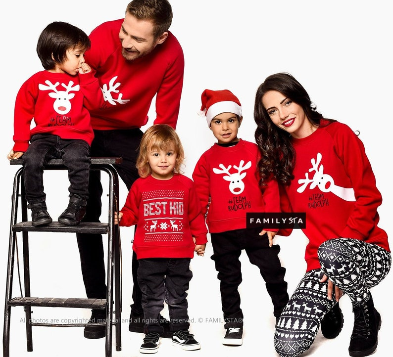 26fecbda2 Family Photo Props Matching Red Outfit Red Sweatshirts